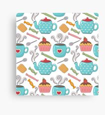 Tea Time Patterns with Cookie, Teacup, Candies and Sweets  Canvas Print