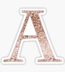 A rose gold glitter monogram letter Sticker
