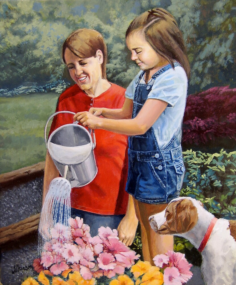Watering Flowers by Ronald Wilkinson