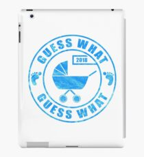 Pregnancy Announcement 2018: Guess What - Blue Baby Boy iPad Case/Skin