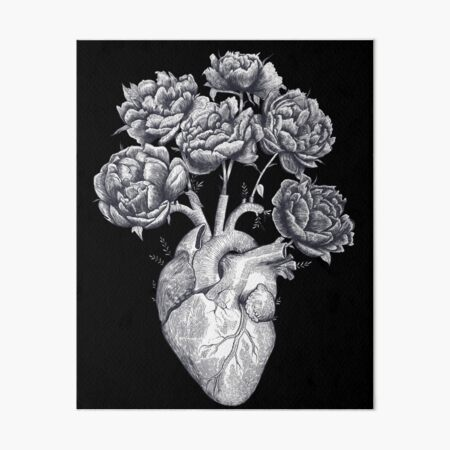 Heart with peonies B&W on black Art Board Print