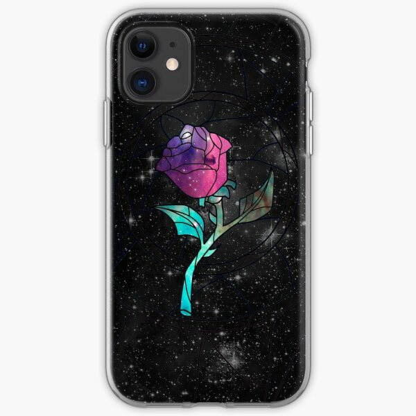 Stained Glass Rose Galaxy iPhone Soft Case