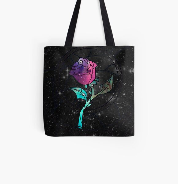 Stained Glass Rose Galaxy All Over Print Tote Bag