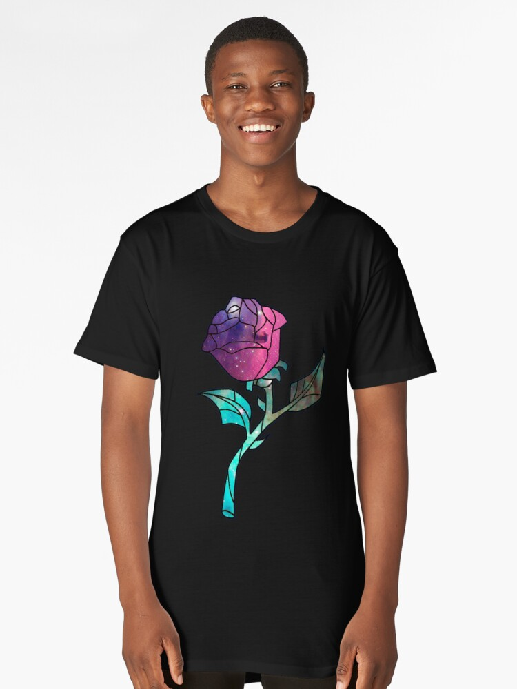 Stained Glass Rose Galaxy Long T-Shirt Front