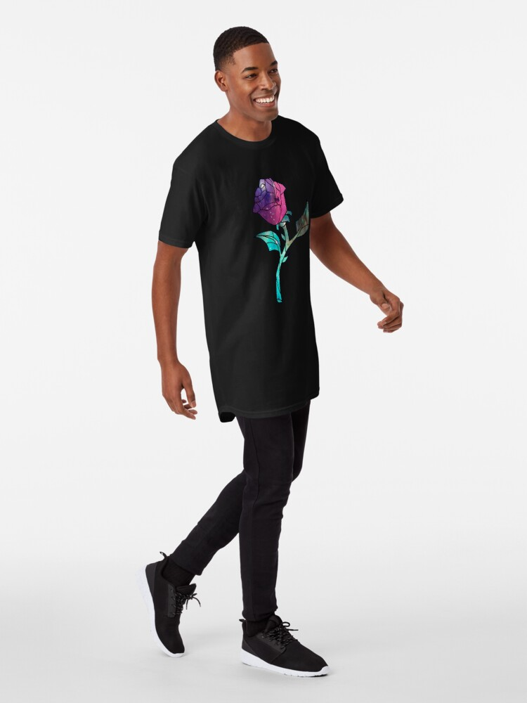 Alternate view of Stained Glass Rose Galaxy Long T-Shirt