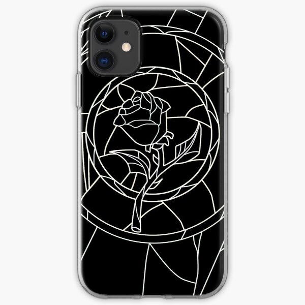 Stained Glass Rose Black iPhone Soft Case