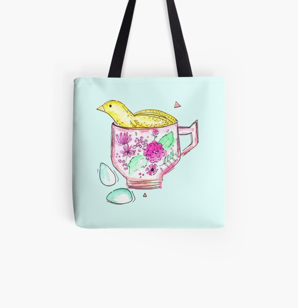 Quail In A Teacup All Over Print Tote Bag