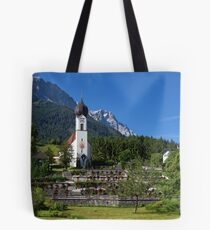 Catholic Parish Church of Grainau and Mount Zugspitze Tote Bag