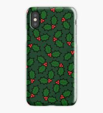 Holly Leaves and Berries Pattern in Dark Green iPhone Case/Skin