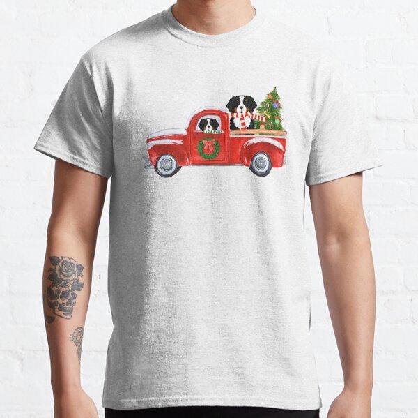 Christmas Bernese Mountain Dog Red Truck Classic T-Shirt