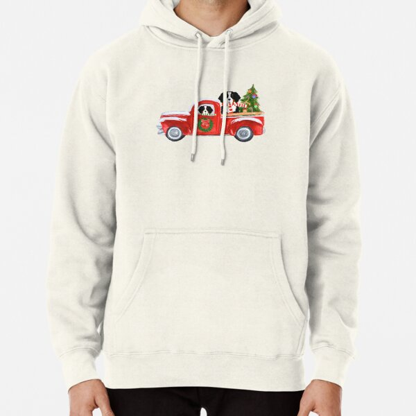 Christmas Bernese Mountain Dog Red Truck Pullover Hoodie