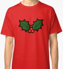 Holly Leaves and Berries Pattern in Light Green Classic T-Shirt