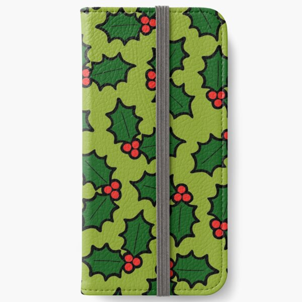 Holly Leaves and Berries Pattern in Light Green iPhone Wallet
