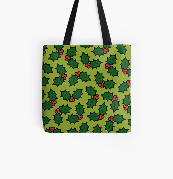 Holly Leaves and Berries Pattern in Light Green All Over Print Tote Bag