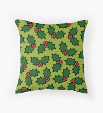 Holly Leaves and Berries Pattern in Light Green Throw Pillow