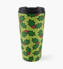 Holly Leaves and Berries Pattern in Light Green Travel Mug