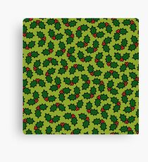 Holly Leaves and Berries Pattern in Light Green Canvas Print