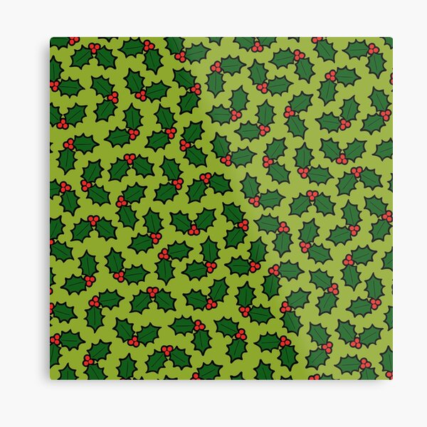 Holly Leaves and Berries Pattern in Light Green Metal Print