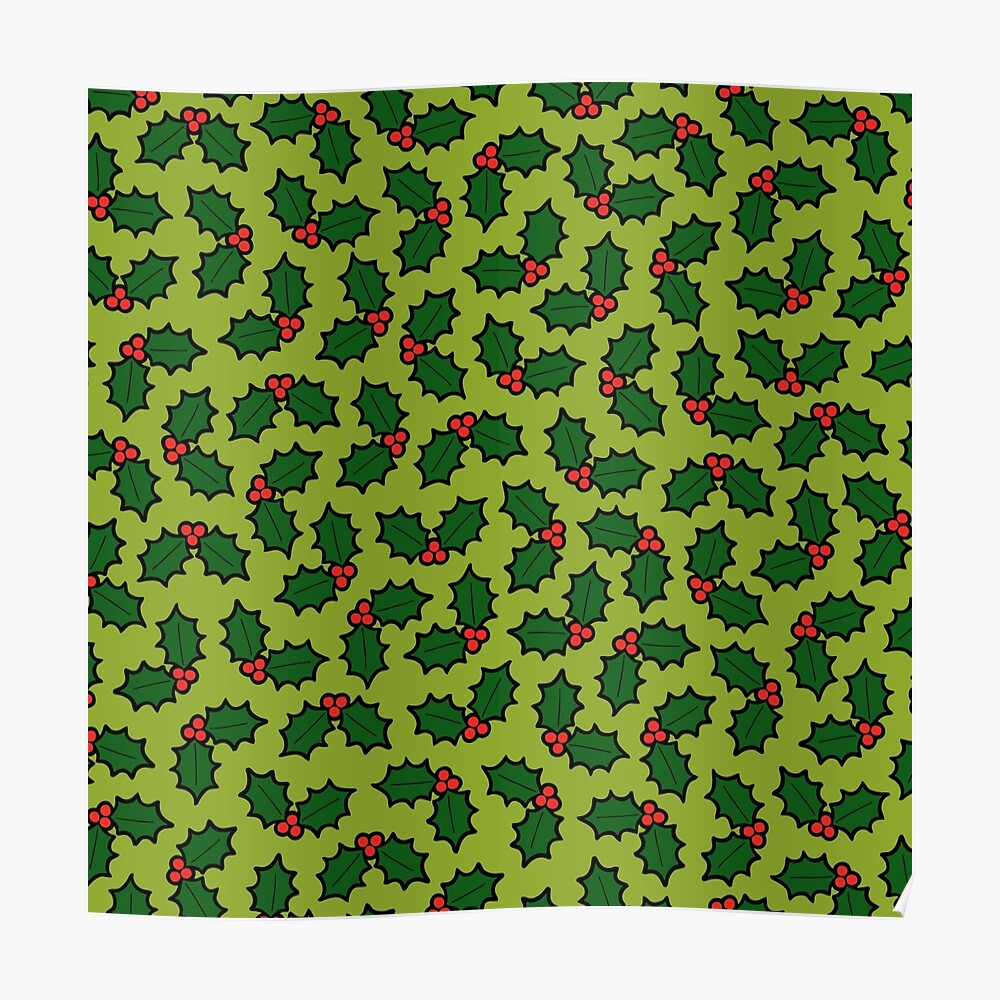 Holly Leaves and Berries Pattern in Light Green Poster
