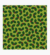 Holly Leaves and Berries Pattern in Light Green Photographic Print