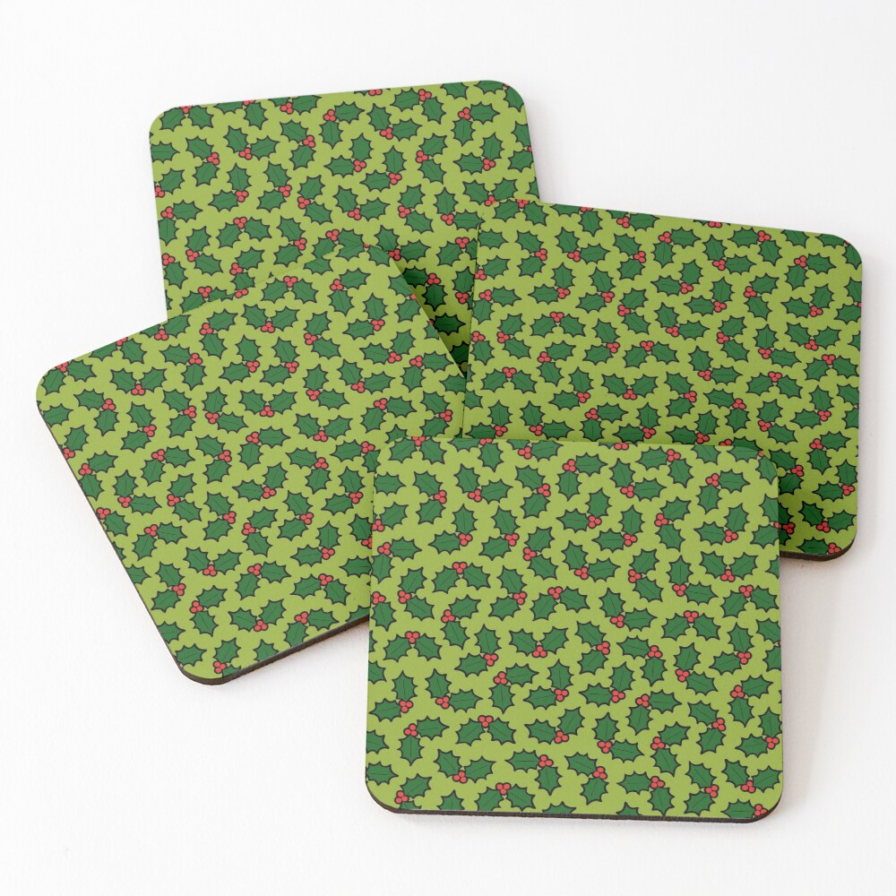 Holly Leaves and Berries Pattern in Light Green Coasters (Set of 4)