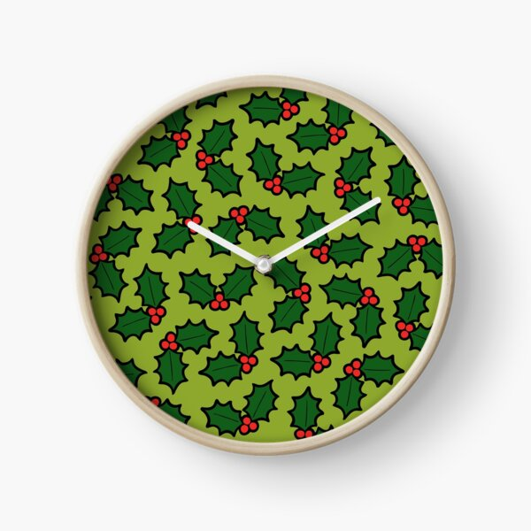 Holly Leaves and Berries Pattern in Light Green Clock