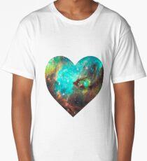 Green Galaxy Heart Long T-Shirt