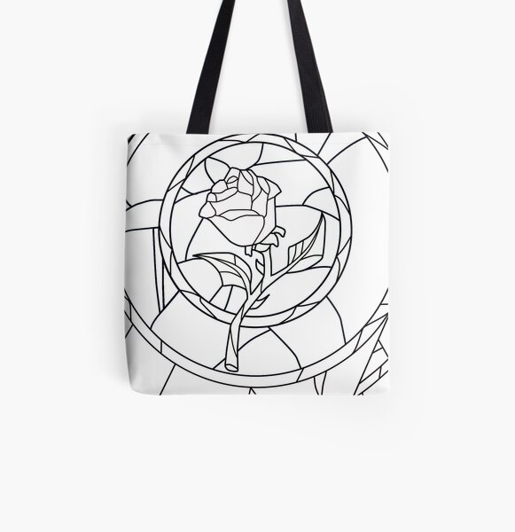 Stained Glass Rose White All Over Print Tote Bag
