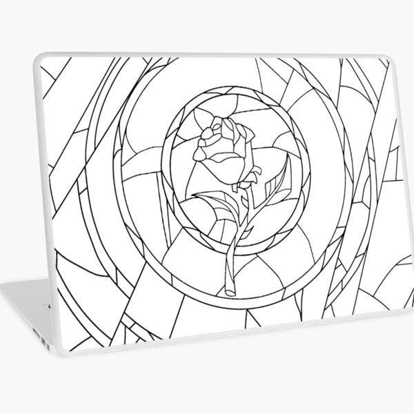 Stained Glass Rose White Laptop Skin