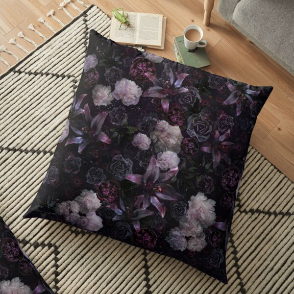 Midsummer Nights Dream #Dark Floral #Midnight #Black #Rose #Night Floor Pillow