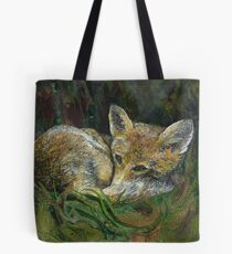 Sleepy Head - Fox Embroidery - Textile Art Tote Bag