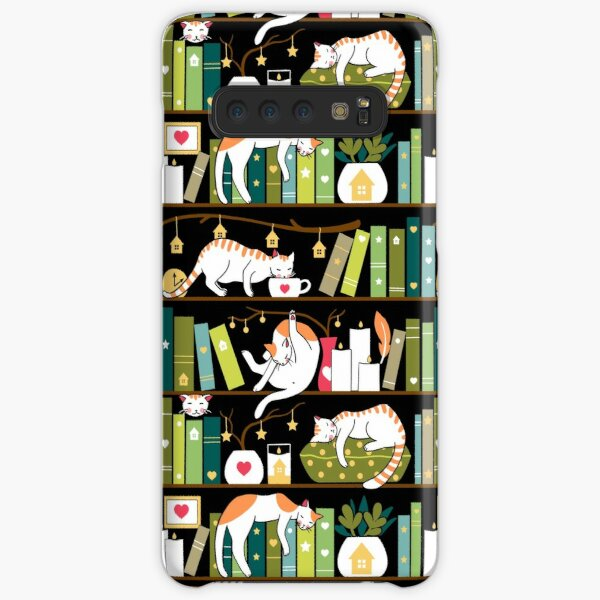 Library cats - whimsical cats on the book shelves  Samsung Galaxy Snap Case
