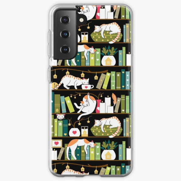 Library cats - whimsical cats on the book shelves  Samsung Galaxy Soft Case