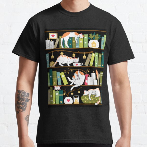 Library cats - whimsical cats on the book shelves  Classic T-Shirt