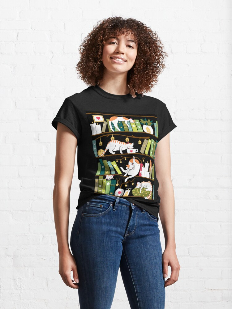 Alternate view of Library cats - whimsical cats on the book shelves  Classic T-Shirt