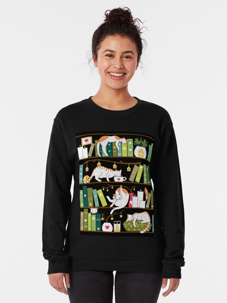 Alternate view of Library cats Pullover Sweatshirt