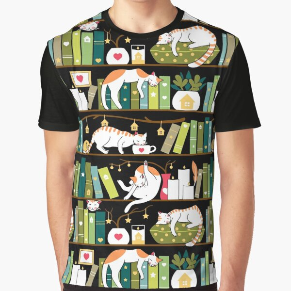 Library cats - whimsical cats on the book shelves  Graphic T-Shirt