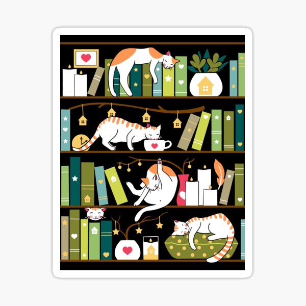 Library cats - whimsical cats on the book shelves  Sticker