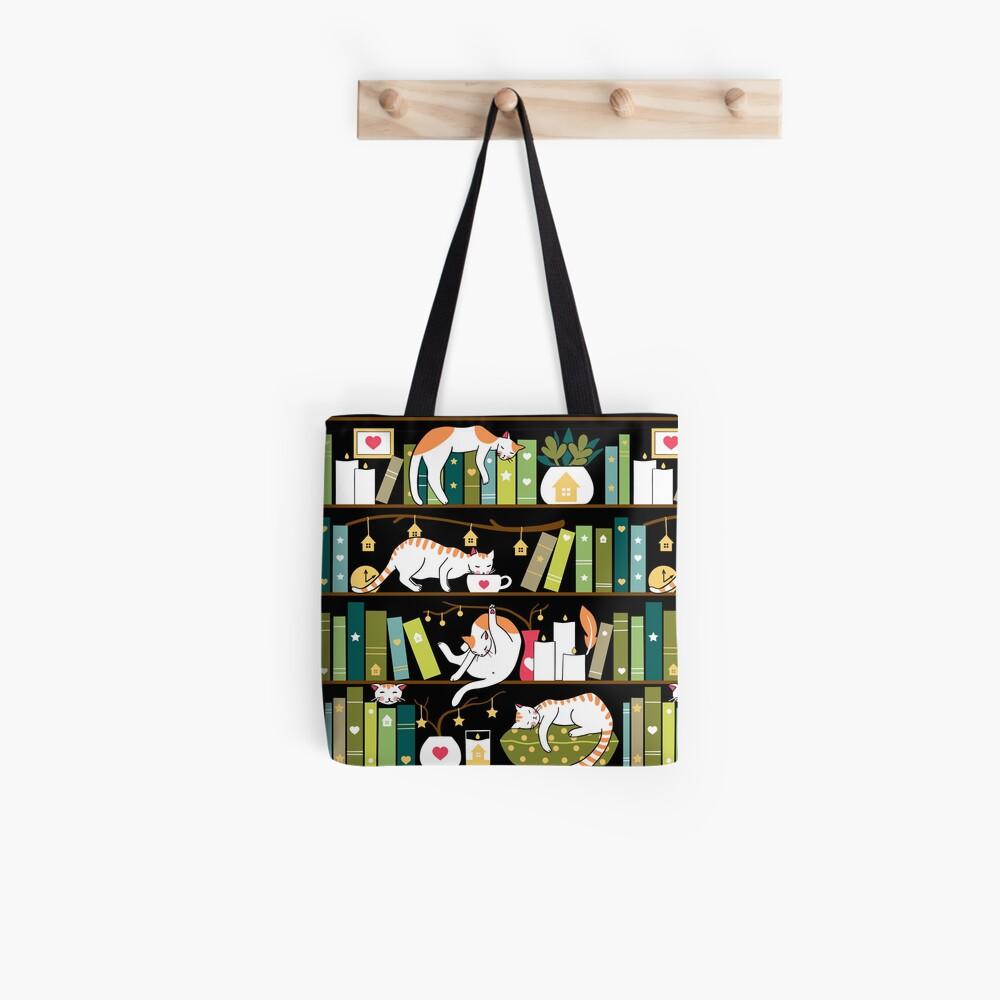 Library cats - whimsical cats on the book shelves  Tote Bag