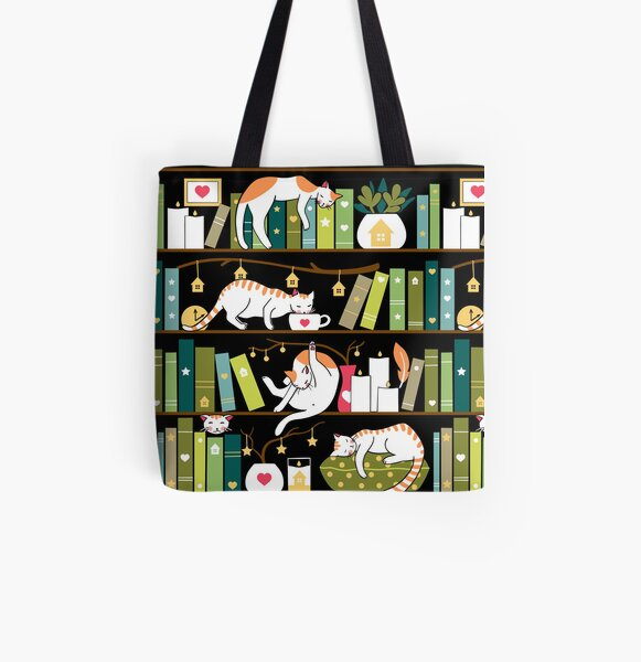 Library cats - whimsical cats on the book shelves  All Over Print Tote Bag