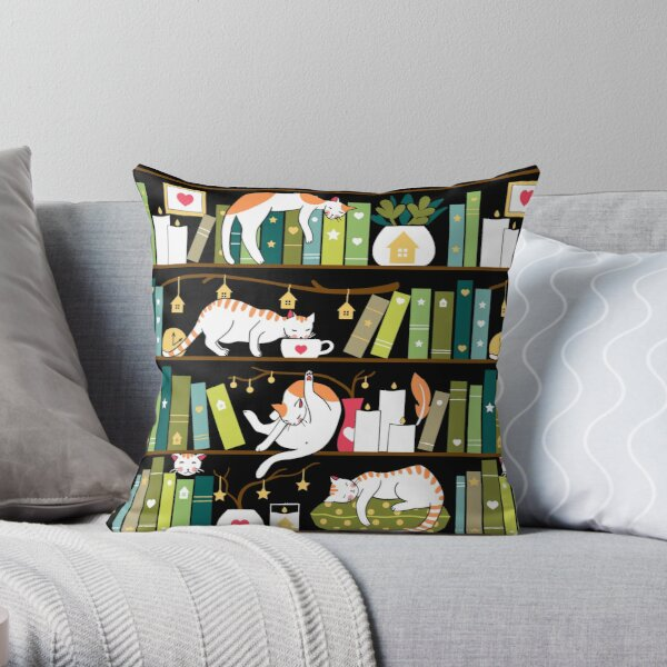 Library cats - whimsical cats on the book shelves  Throw Pillow
