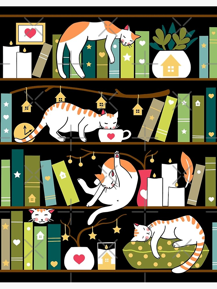 Library cats by Elenanaylor