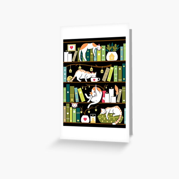 Library cats - whimsical cats on the book shelves  Greeting Card