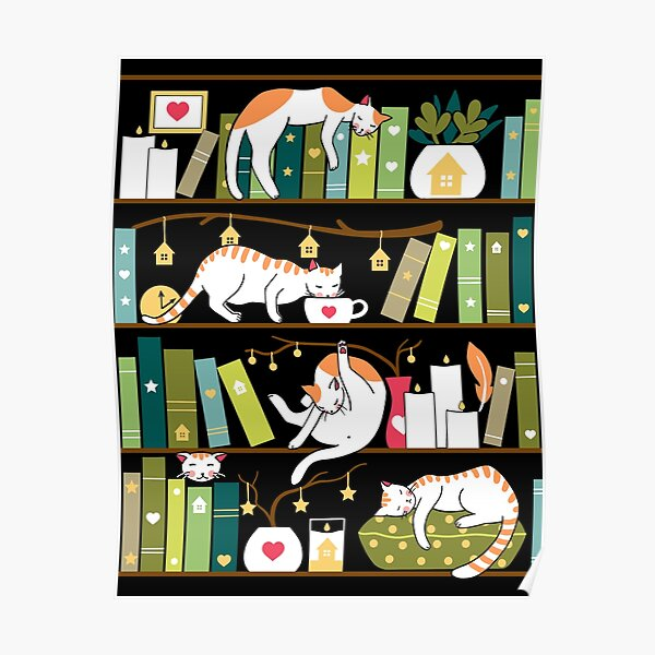 Library cats - whimsical cats on the book shelves  Poster