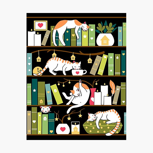 Library cats - whimsical cats on the book shelves  Photographic Print