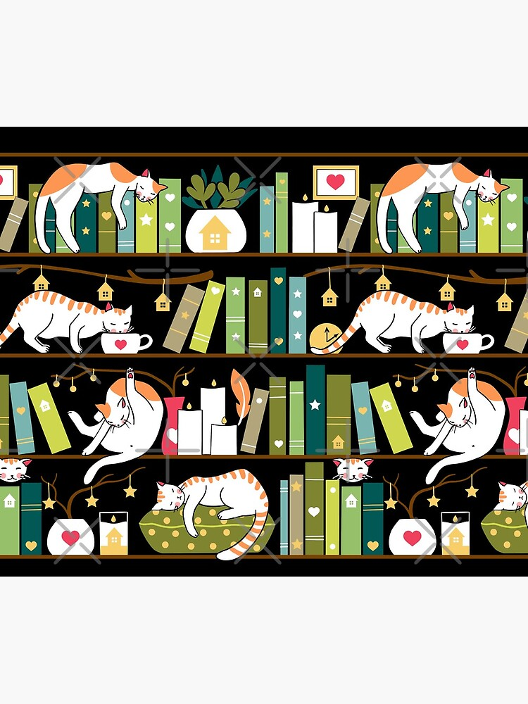 Library cats - whimsical cats on the book shelves  by Elenanaylor