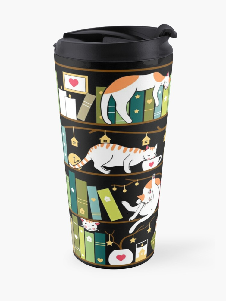 Alternate view of Library cats - whimsical cats on the book shelves  Travel Mug