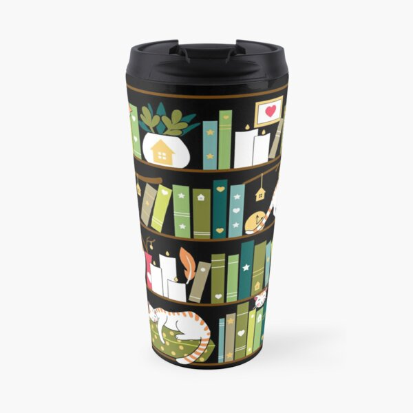 Library cats - whimsical cats on the book shelves  Travel Mug