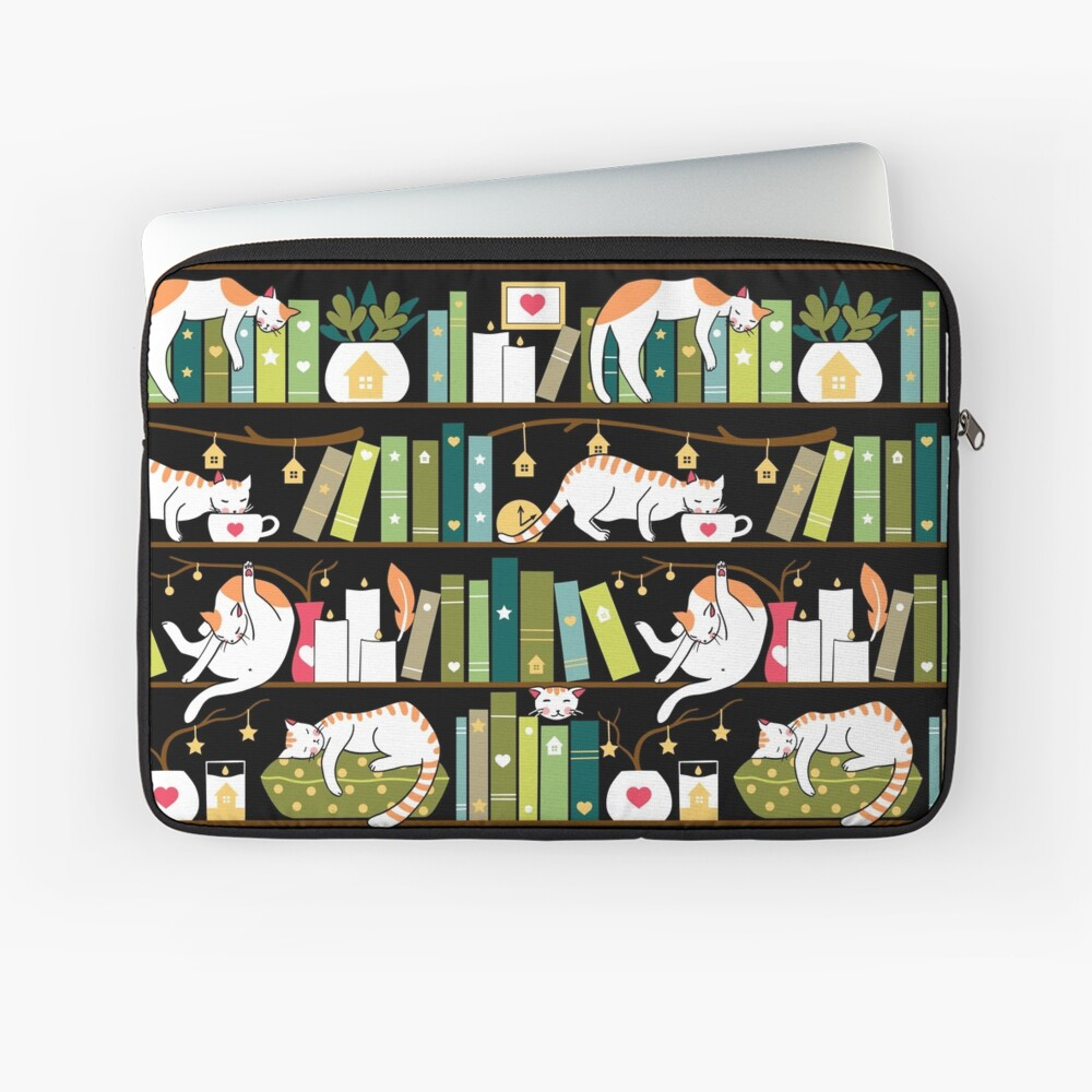 Library cats - whimsical cats on the book shelves  Laptop Sleeve