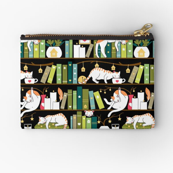 Library cats - whimsical cats on the book shelves  Zipper Pouch